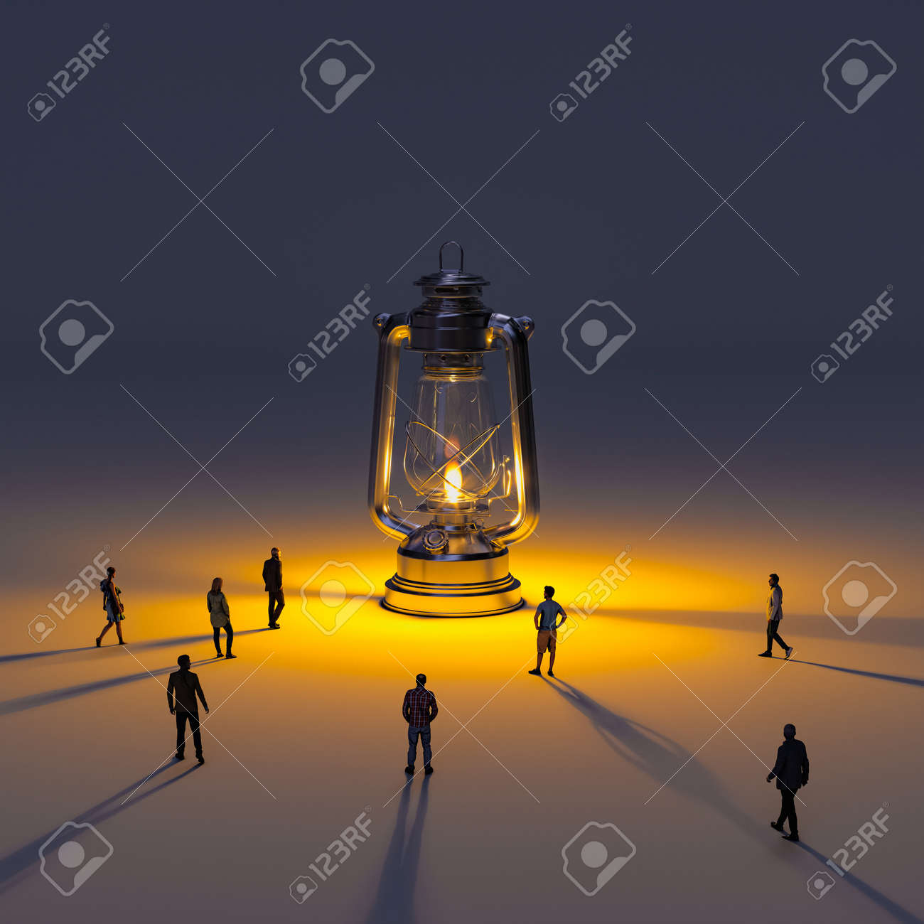 huge kerosene lamp with flame and people going towards the light. 3d render models - 173236169