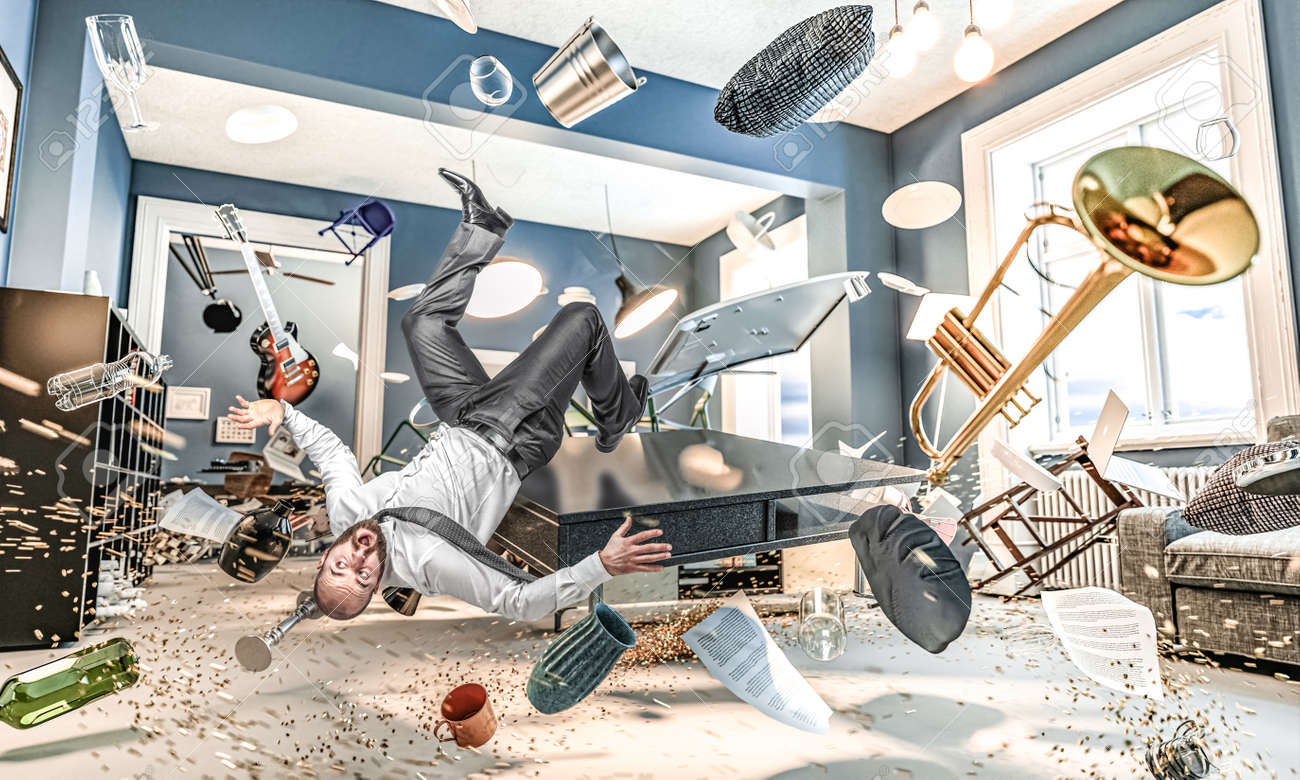 man fall, interior of a house with flying objects and in disorder. concept of confusion, disaster. - 173236171