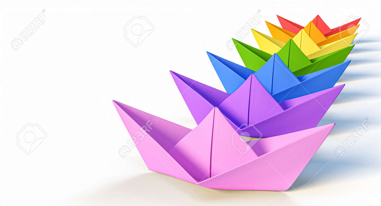 group of paper boats with rainbow colors. 3d render. diversity concept - 172574137