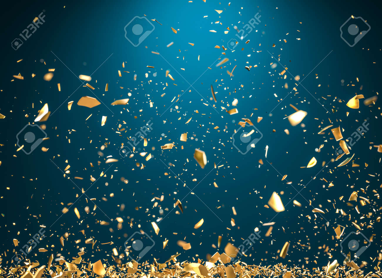 rain of gold metallic fragments on a blue background. 3d render - 173236142
