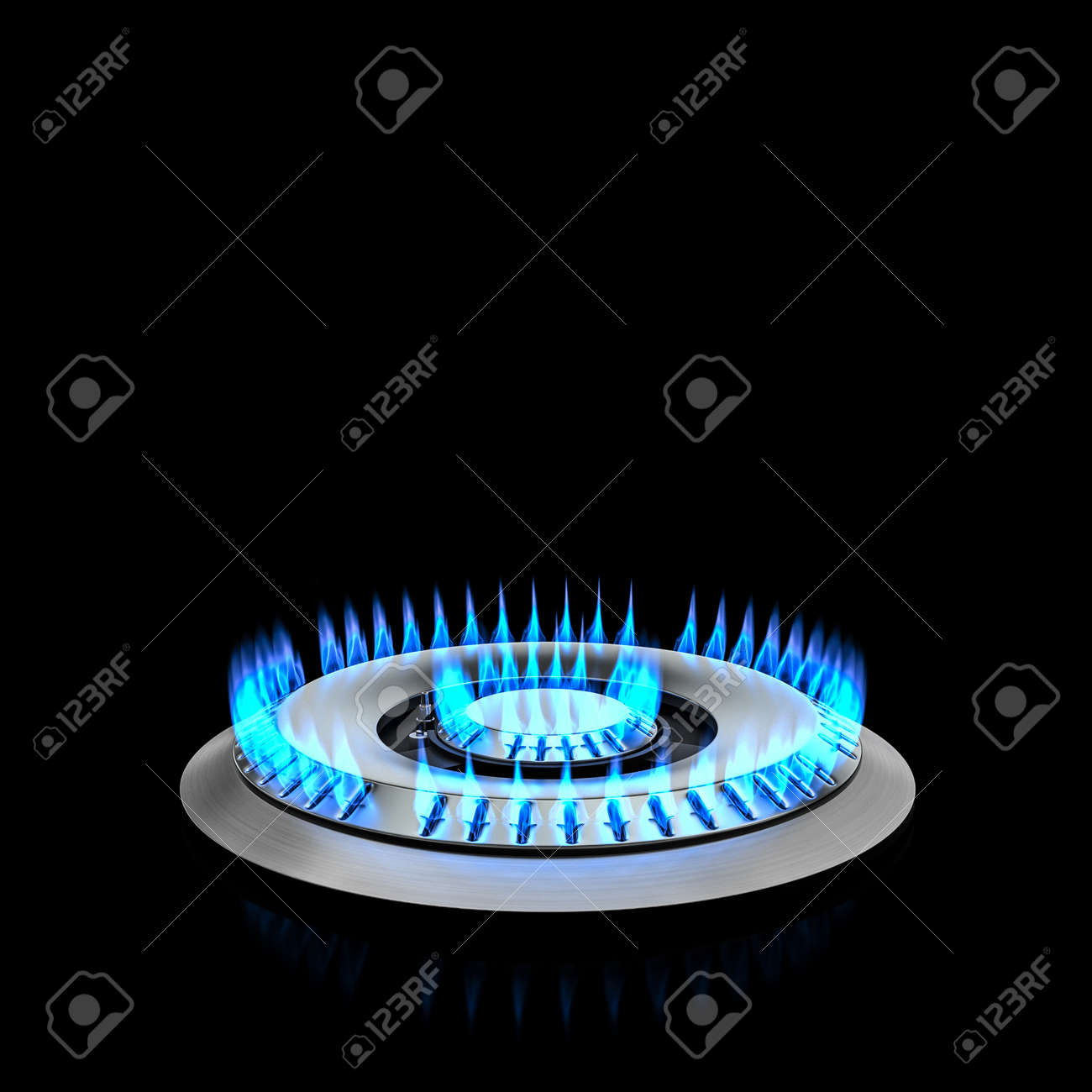 kitchen double cooker gas blue flame. 3d render - 173236143