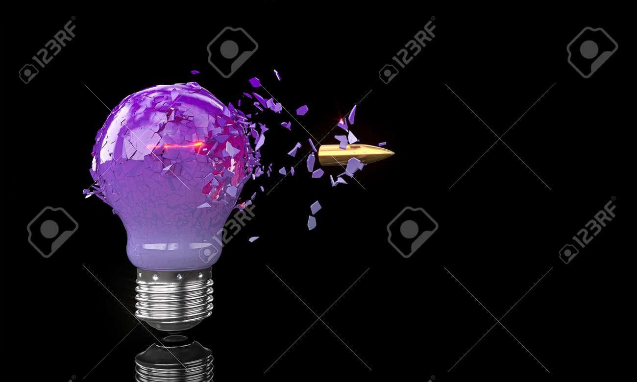 purple bulb crashing hit by a bullet on black. 3d render - 173236146