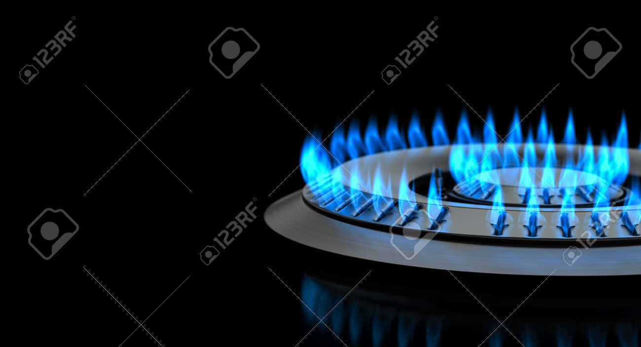detail gas stove with flame on a black background. 3d render - 172883212