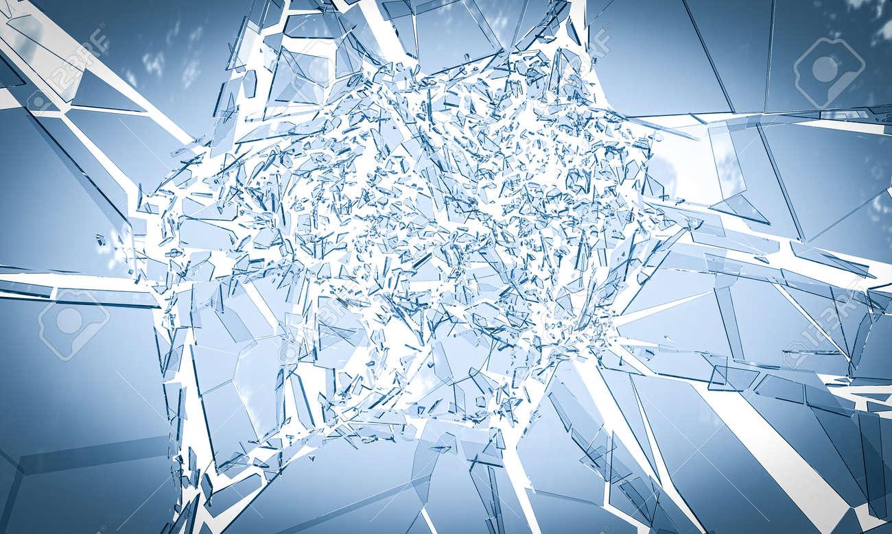 glass breaking on white background. 3d render - 172883624