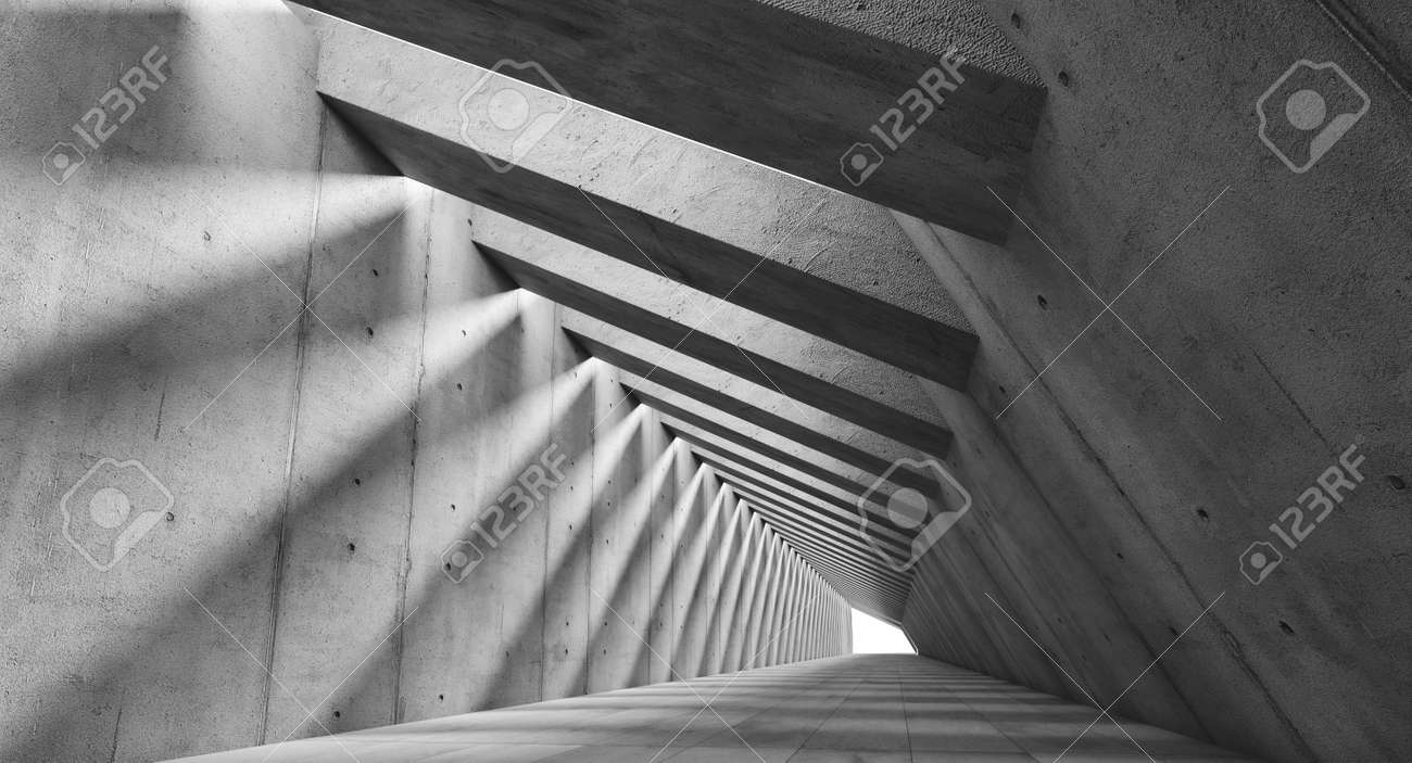 long futuristic concrete corridor with light coming from the ceiling. 3d render - 172883217
