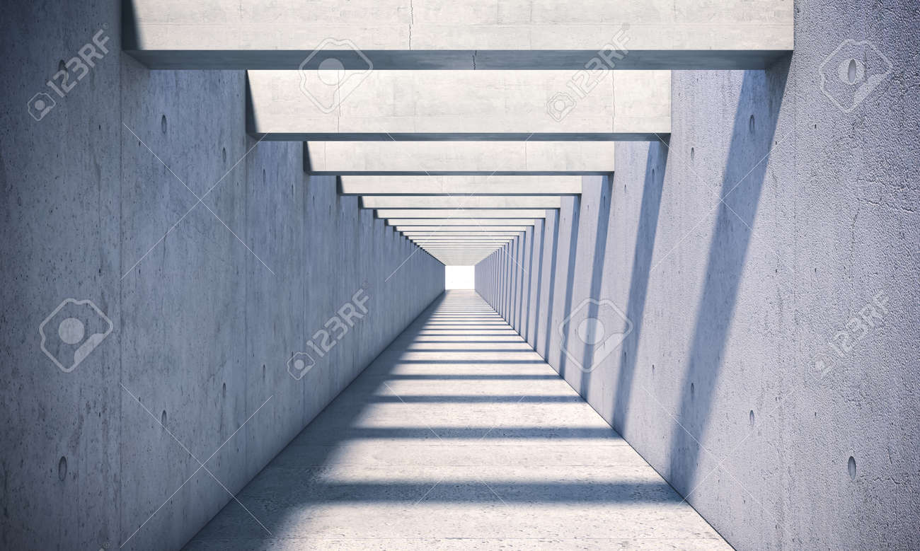 concrete tunnel with sunlight coming from the top. 3d render - 172883197