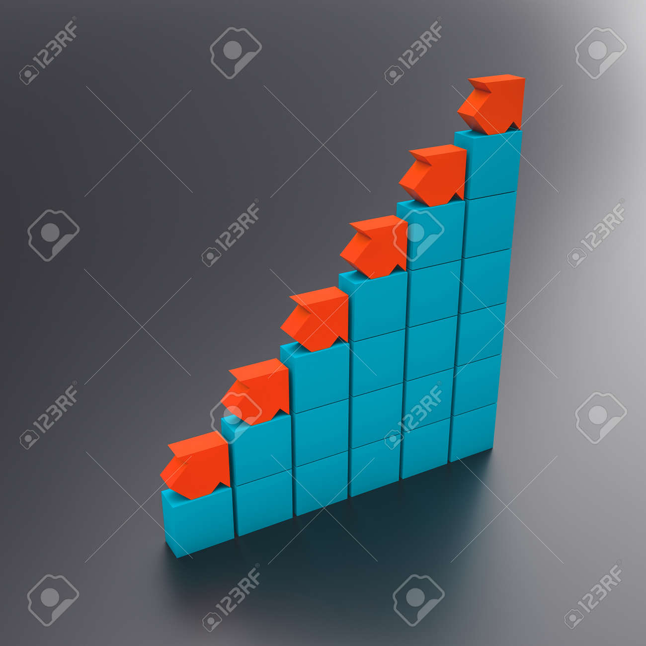 blue and red arrows on schematic block chart. business and finance concept. 3d render - 173236179