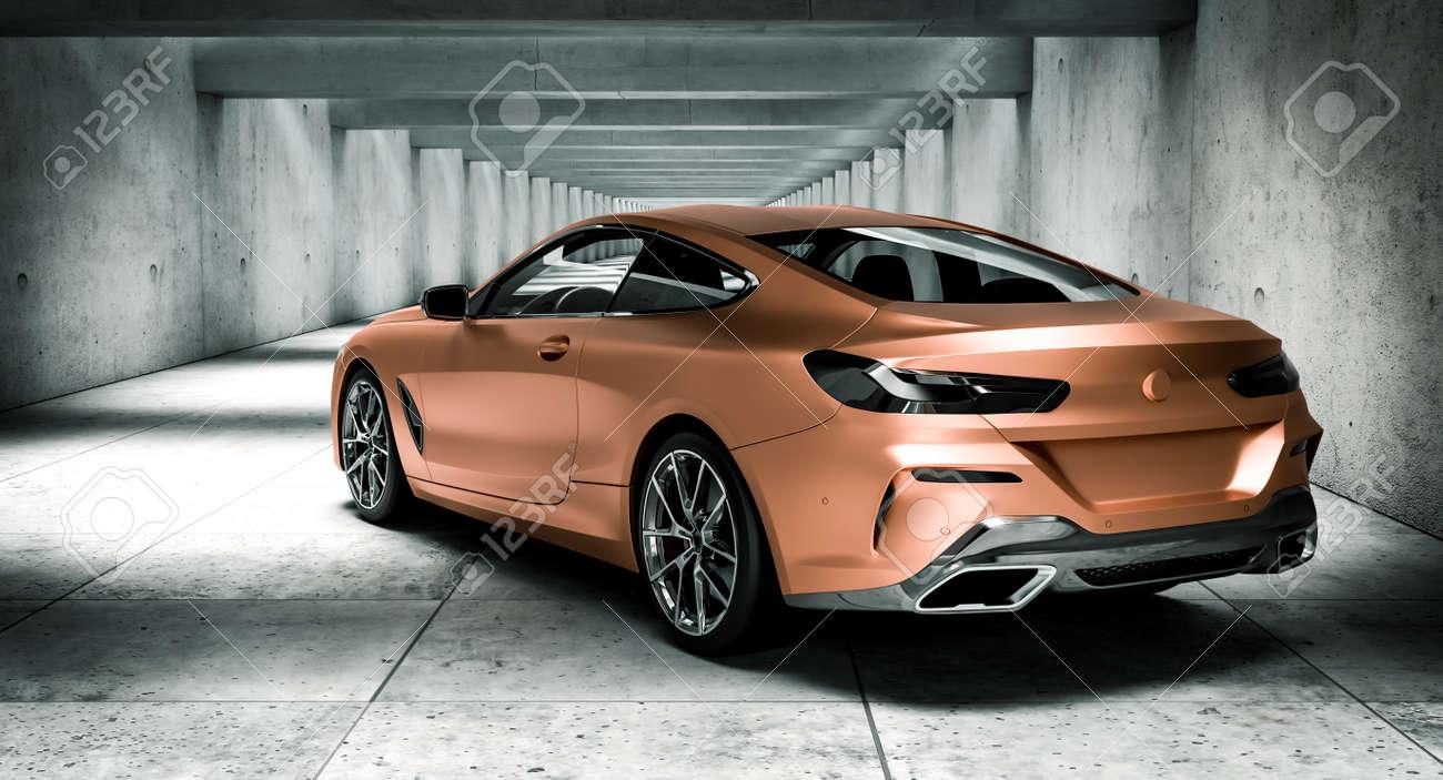 luxury car in modern concrete tunnel. 3d render - 173324625