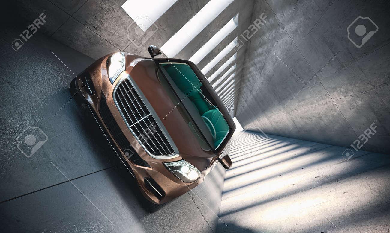 luxury car in modern concrete tunnel. 3d render - 173325185