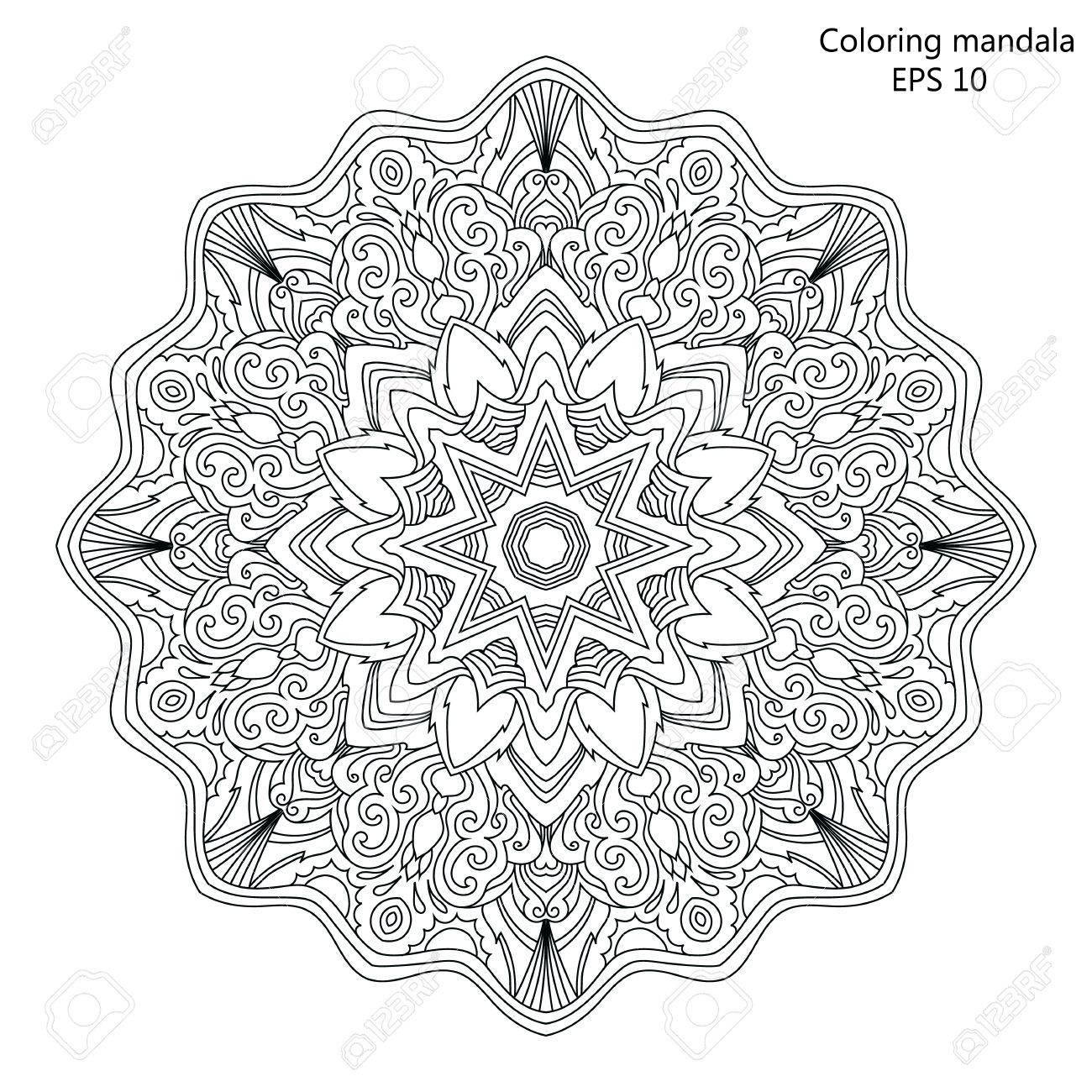 Mandala Malvorlage Für Erwachsene Vektor-Illustration. Lizenzfrei ...