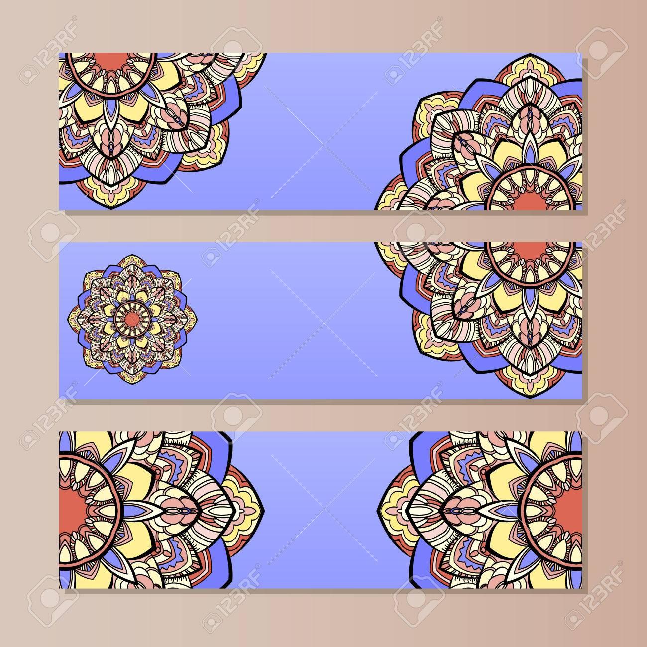 Establecer Banners Horizontales De Vector Con Mandala Colorido. La ...