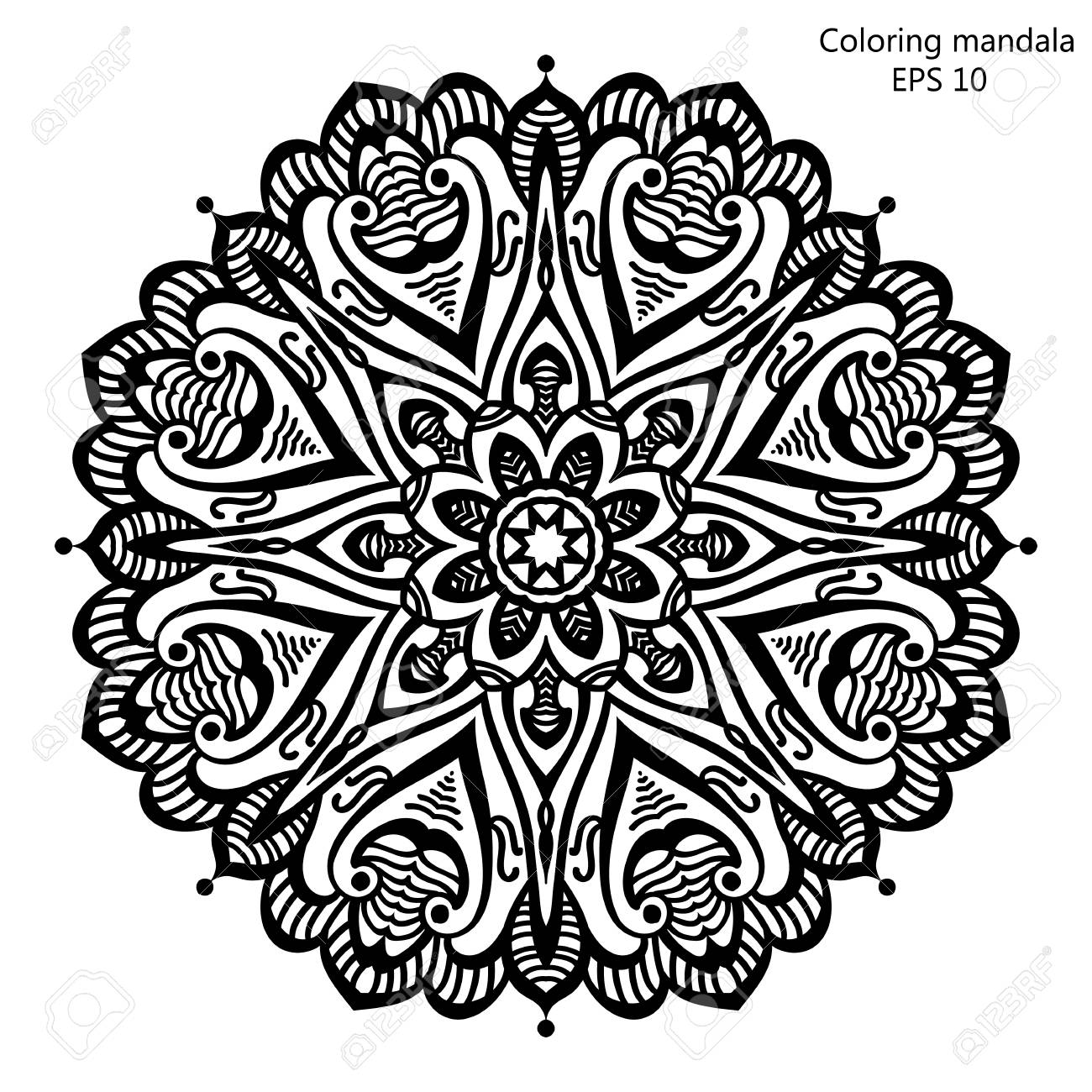Vector Illustration Coloring Book For Adult And Older Children Page With Mandala Made Of Decorative Vintage