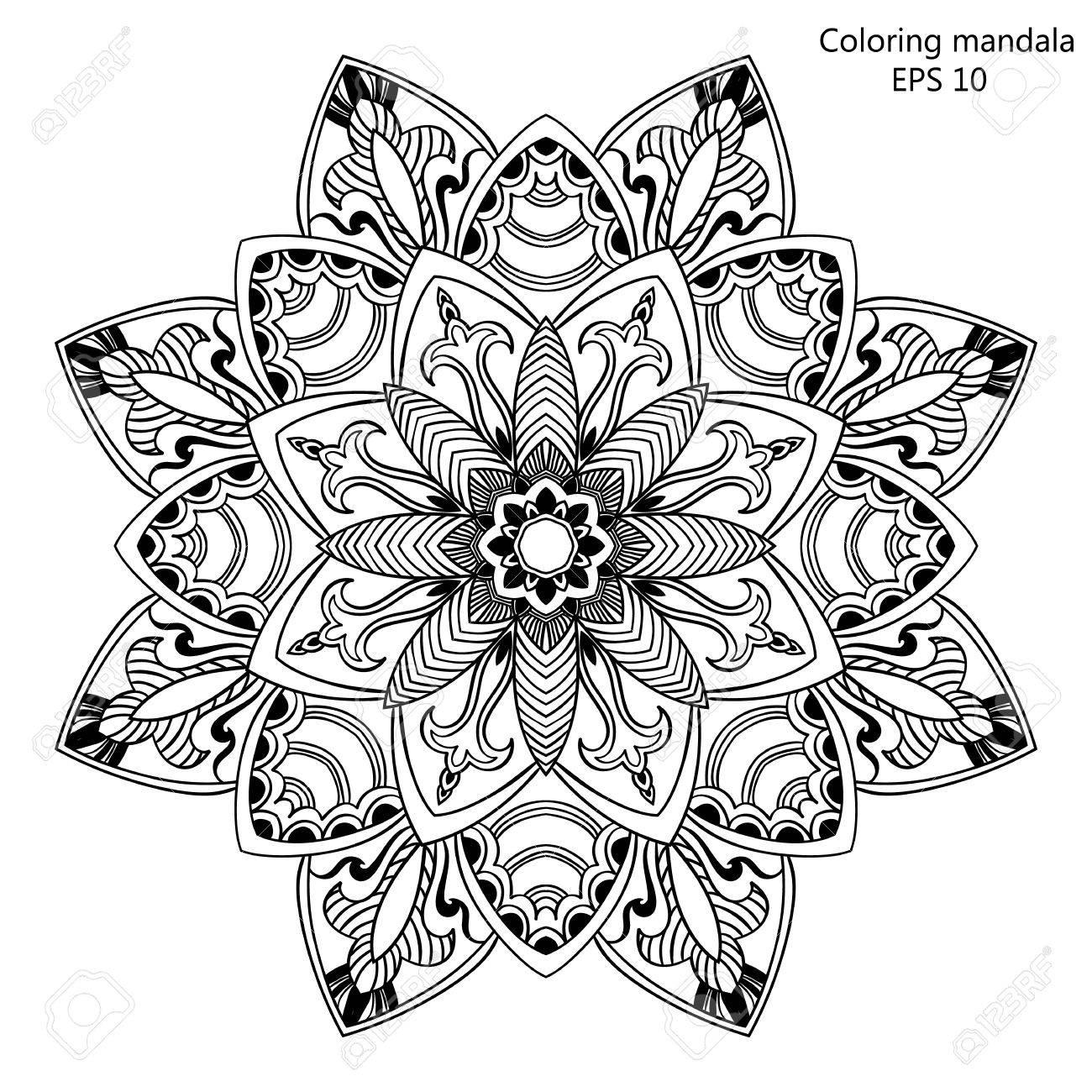 Outline design mandala for coloring book. Decorative oriental..