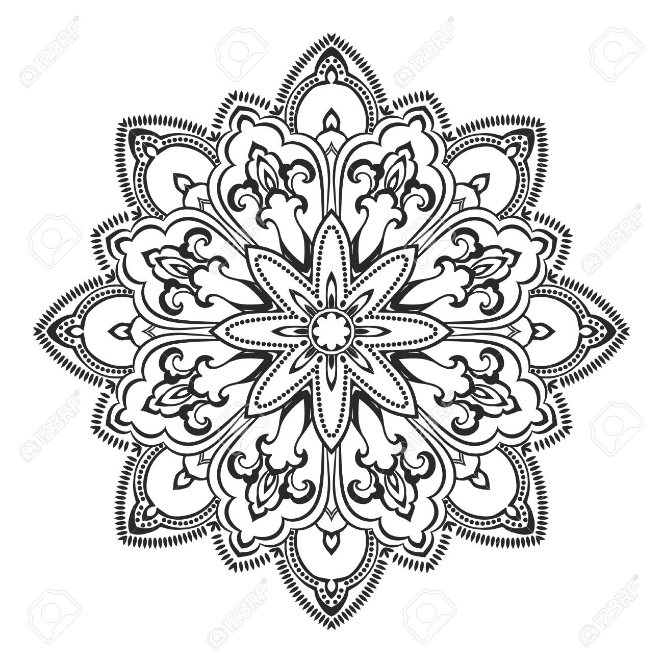 Elemento Decorativo étnica Mano Vector Dibujado Mandala Blanco Y Negro Para Colorear Página Orienta Motivos