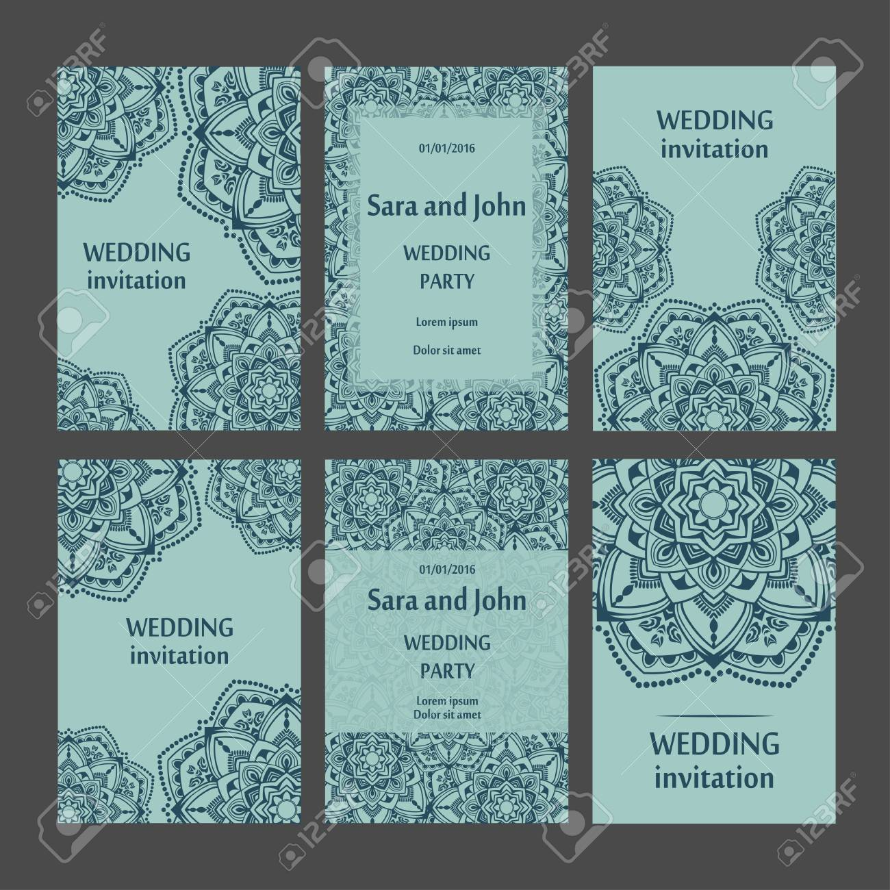 Tarjetas De Invitación Vintage Con Adorno De Encaje Diseño De Marco De Plantilla Para Tarjeta Estilo Retro Mandala
