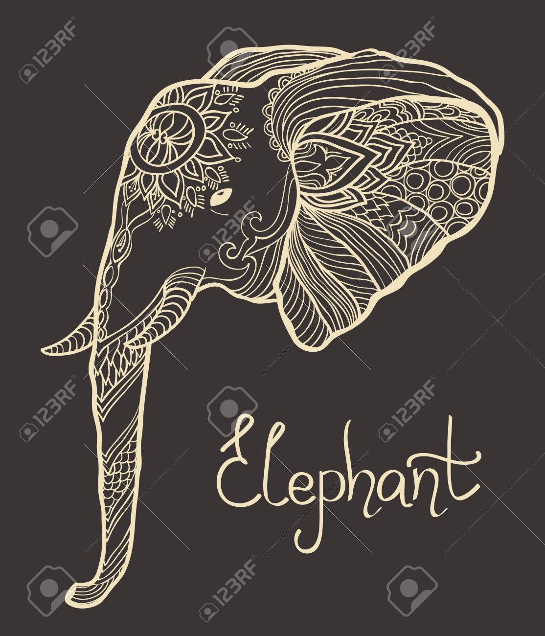 Elephant Head Hand Drawn Tangled Illustration Coloring Page For Adult And Children Stock Vector