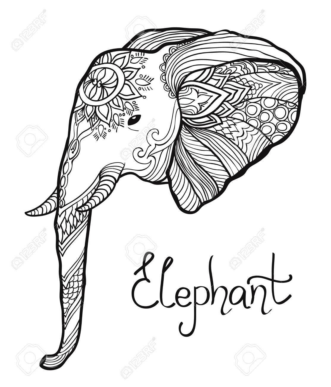 Elefantenkopf Hand Verheddert Illustration Gezeichnet. Malvorlagen
