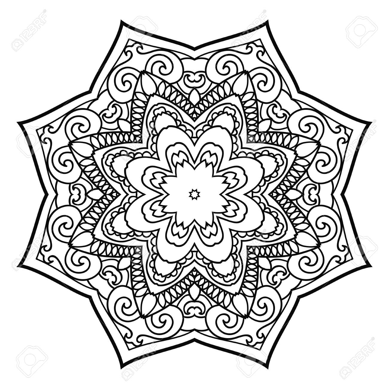Mandala Hand Drawn Design Can Be Used Like Coloring Page Vintage