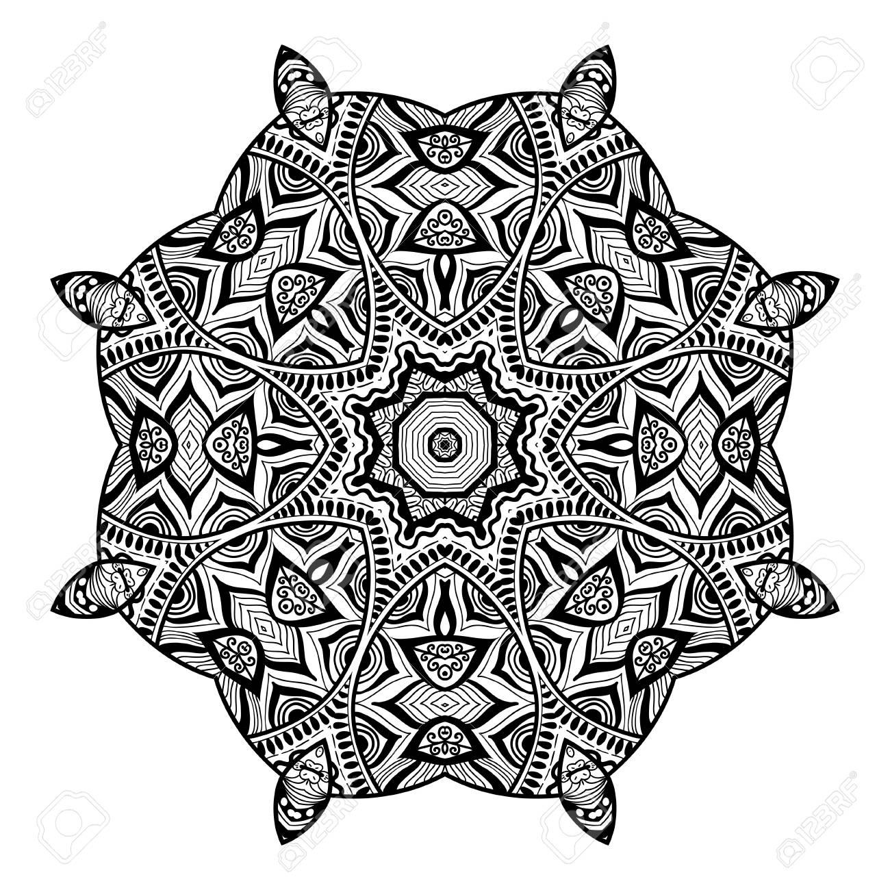 Diseno De La Mandala Dibujado A Mano Hermoso Adorno Dibujo Para