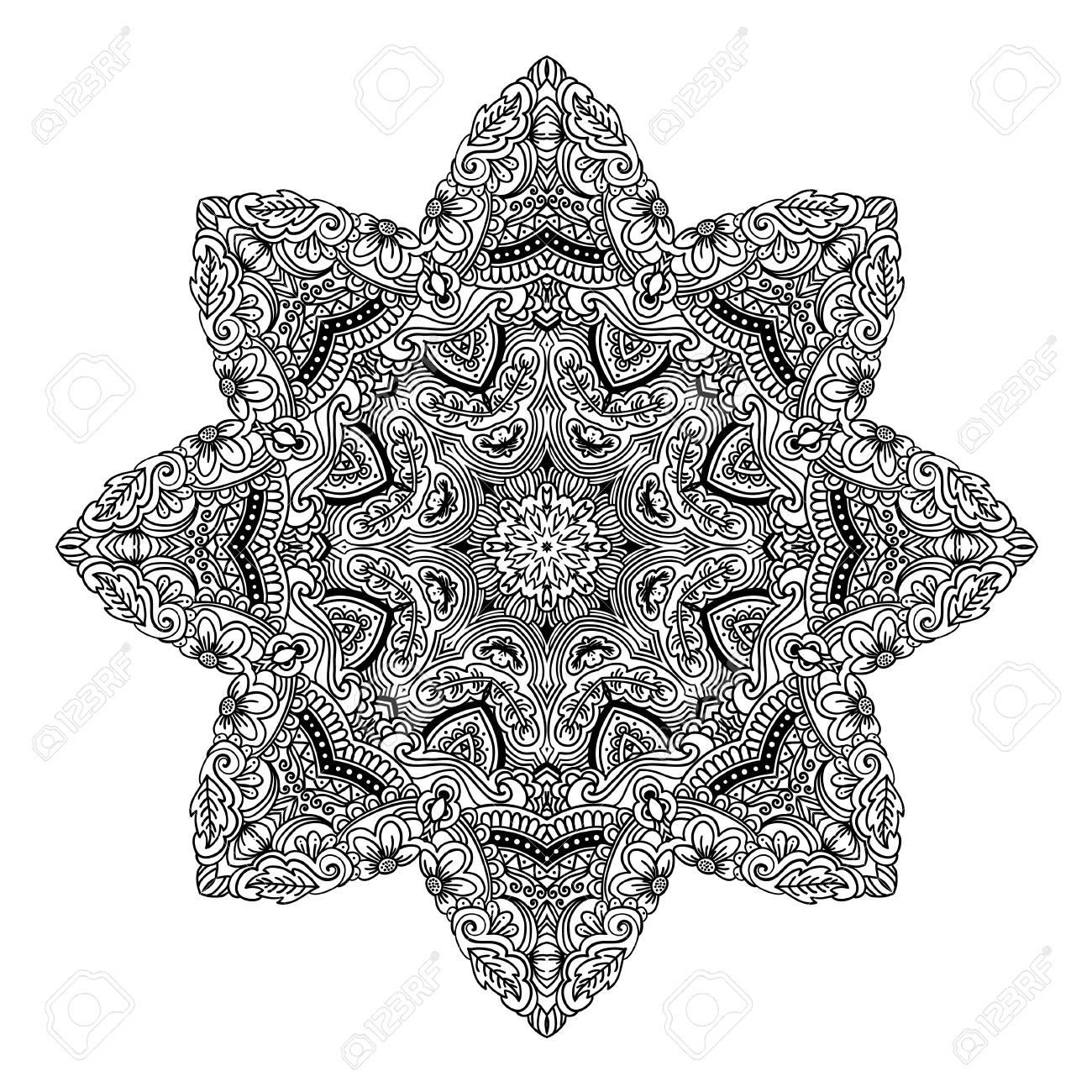Mandala-Design. Hand Schöne Verzierung Gezeichnet. Malvorlage Für ...