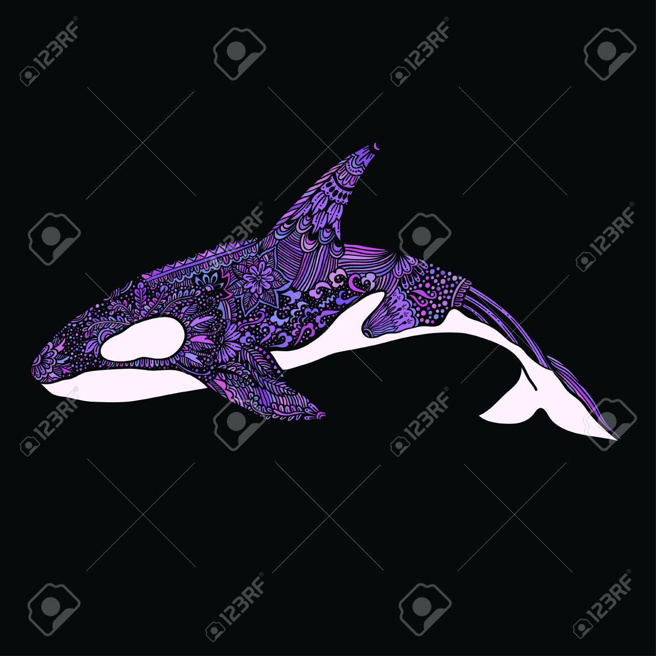 Stock vector ethnic animal doodle detail pattern killer whale - Ethnic Animal Doodle Detail Pattern Killer Whale Illustration Stock Vector 64568548