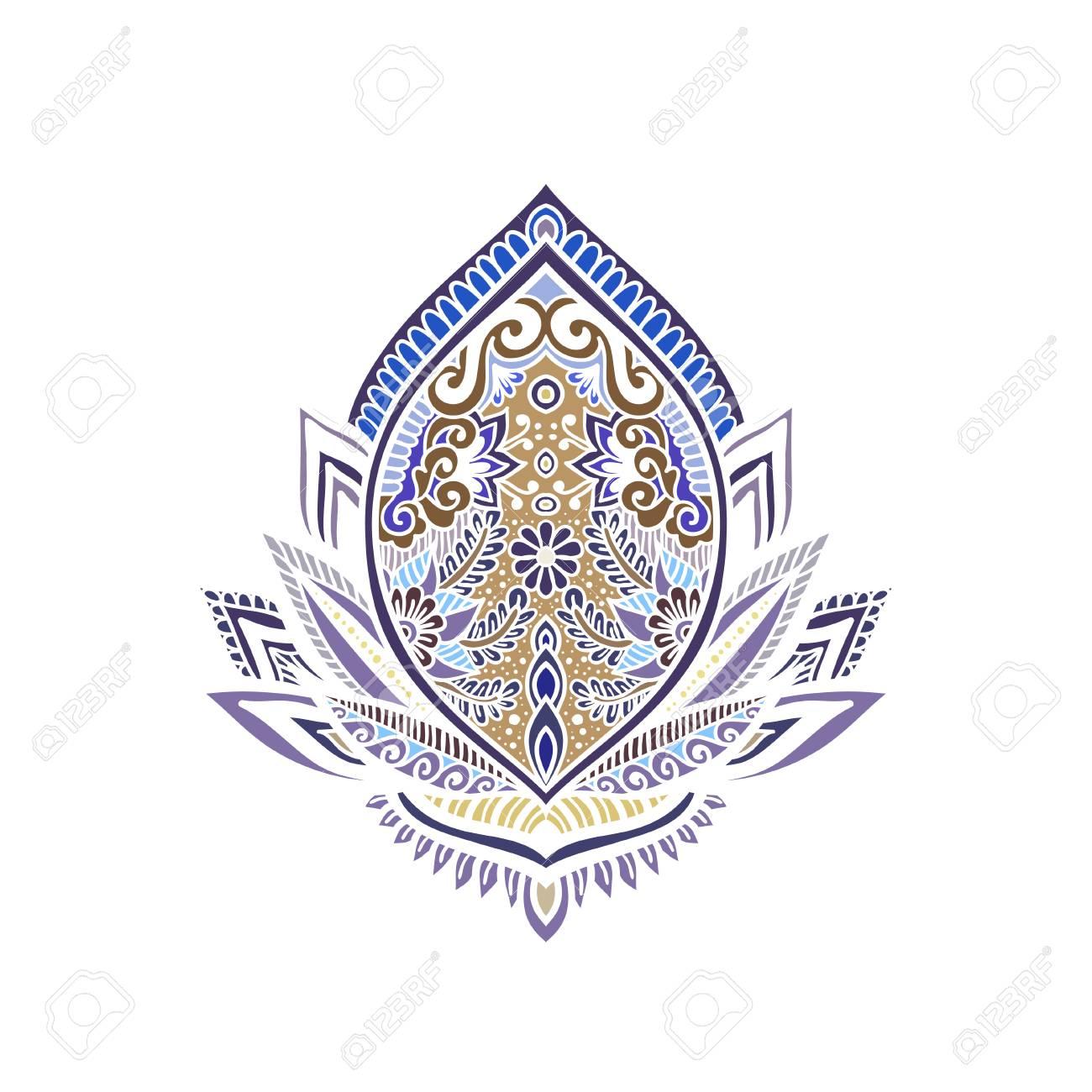 Ornamental lotus flower ethnic art patterned indian paisley ornamental lotus flower ethnic art patterned indian paisley illustration invitation element mightylinksfo