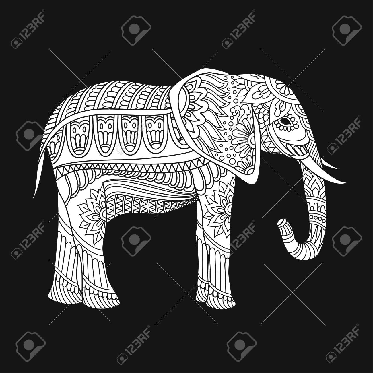 Indian Elephant In Traditional Asian Style. Ornate Elephant On ...