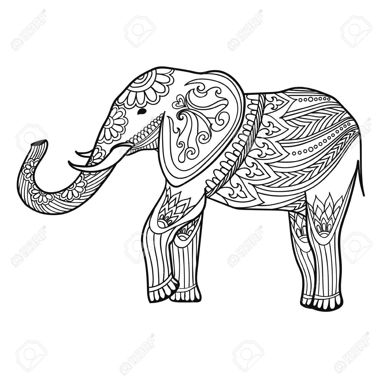 Indian Elephant In Traditional Asian Style. Ornate Linear Elephant ...