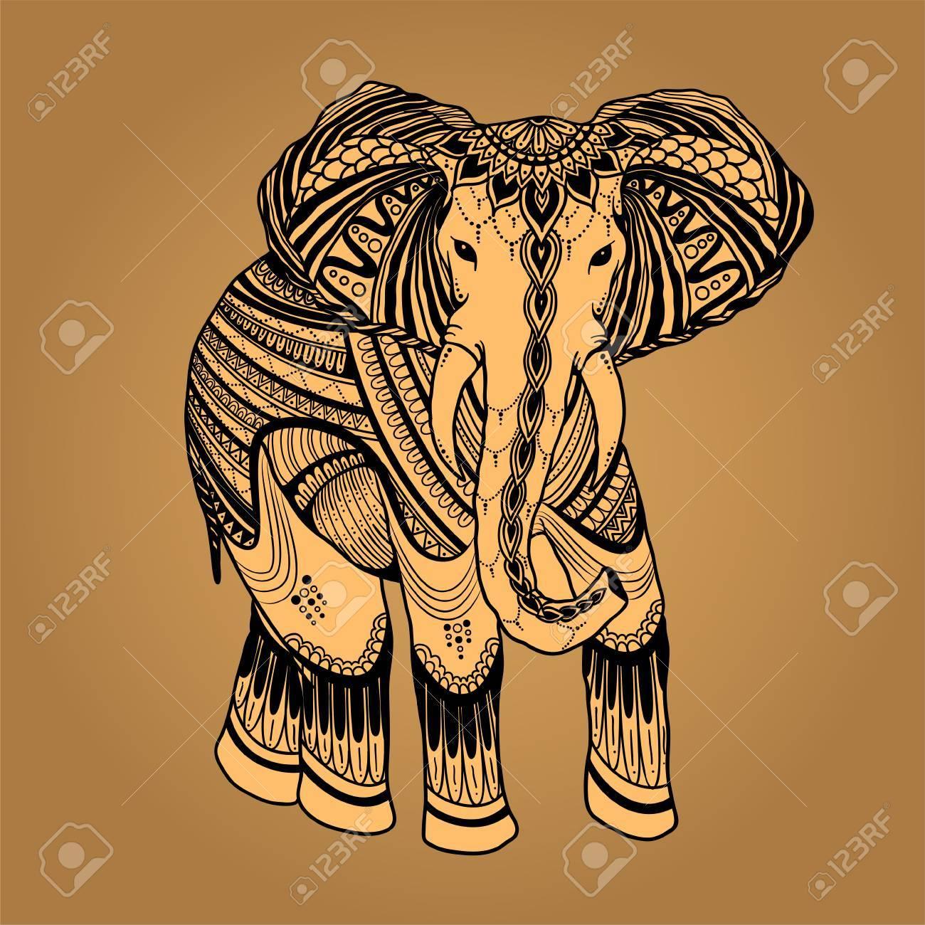 Elefante Indio Hermosa En Estilo Asiático Ornamento Zentangle ...