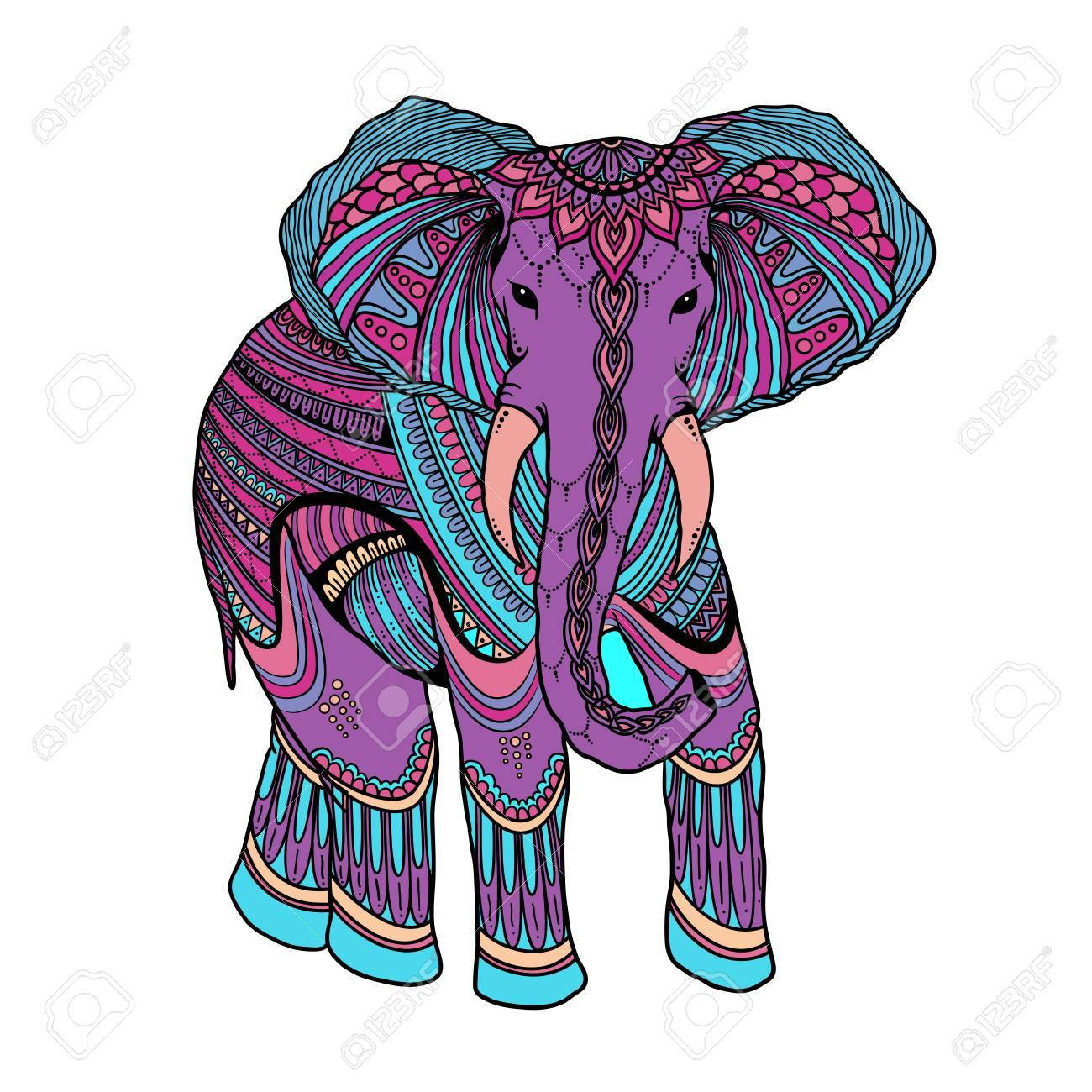 Indien Beau Elephant Zentangle Ornement Asiatique Style