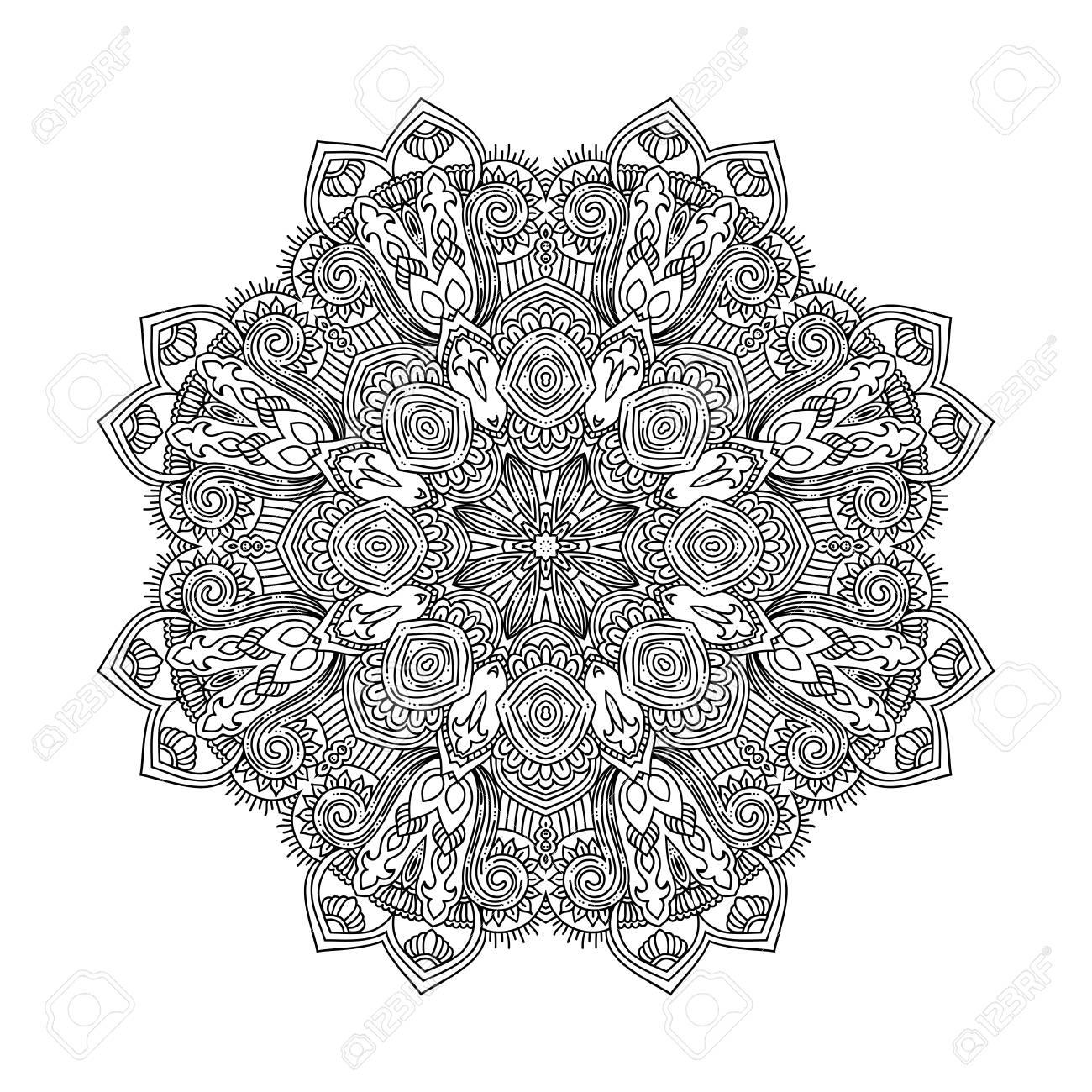 Mandala De La Flor Para Los Libros Para Colorear Adultos Y Otro ...