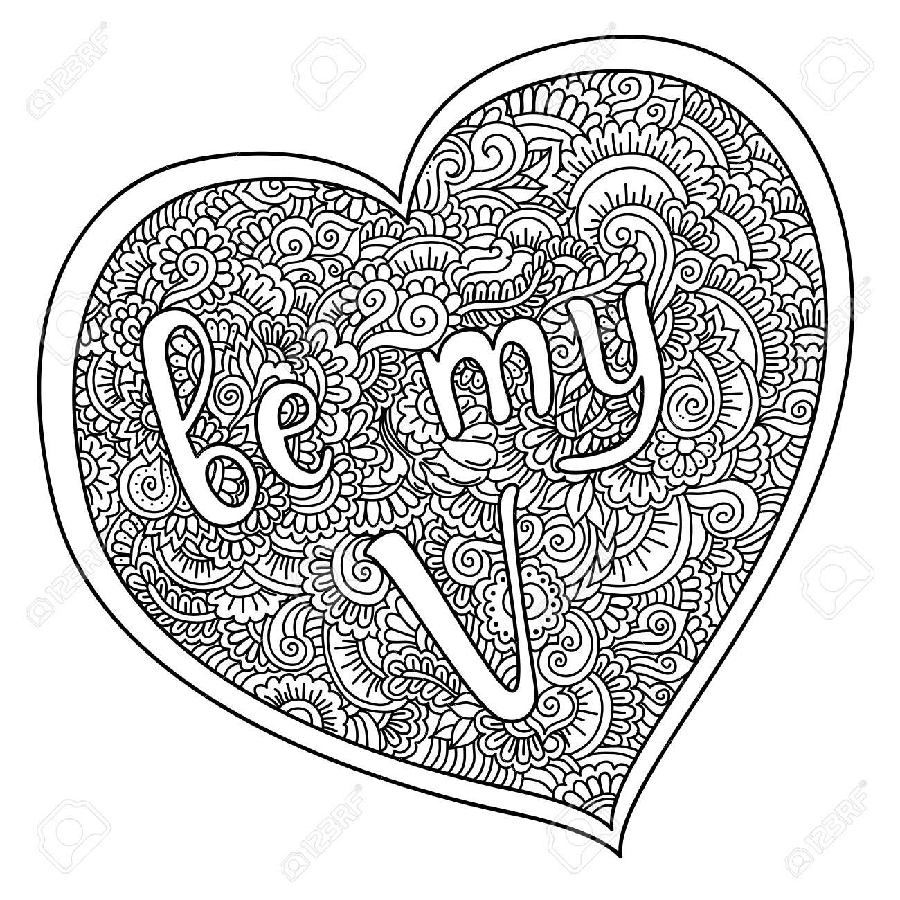 Ser Mi Cita De San Valentín En El Corazón Zentangle. Ilustración ...
