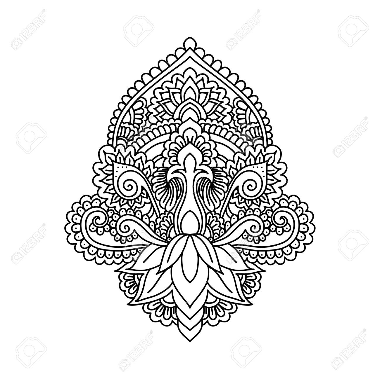 Vector Ornamental Lotus Flowerethnic Artpatterned Indian Paisley