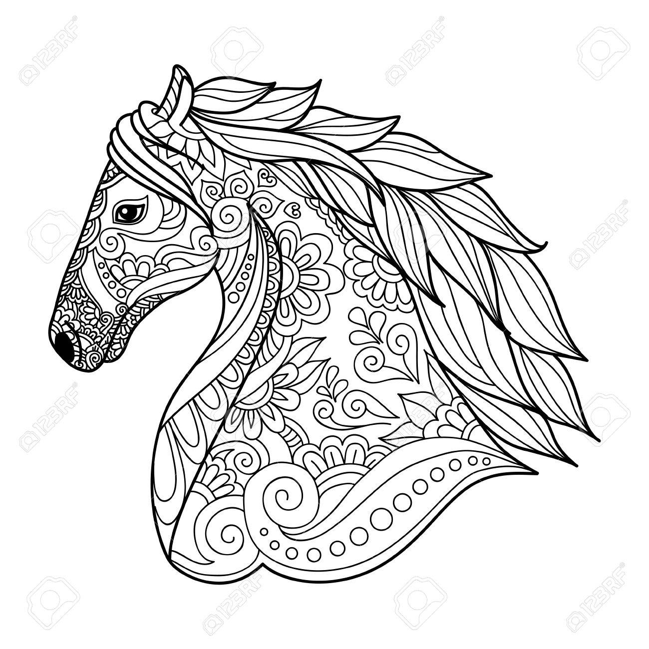 Stylized Head Horse Coloring Book For Adults Vector Illustration ...