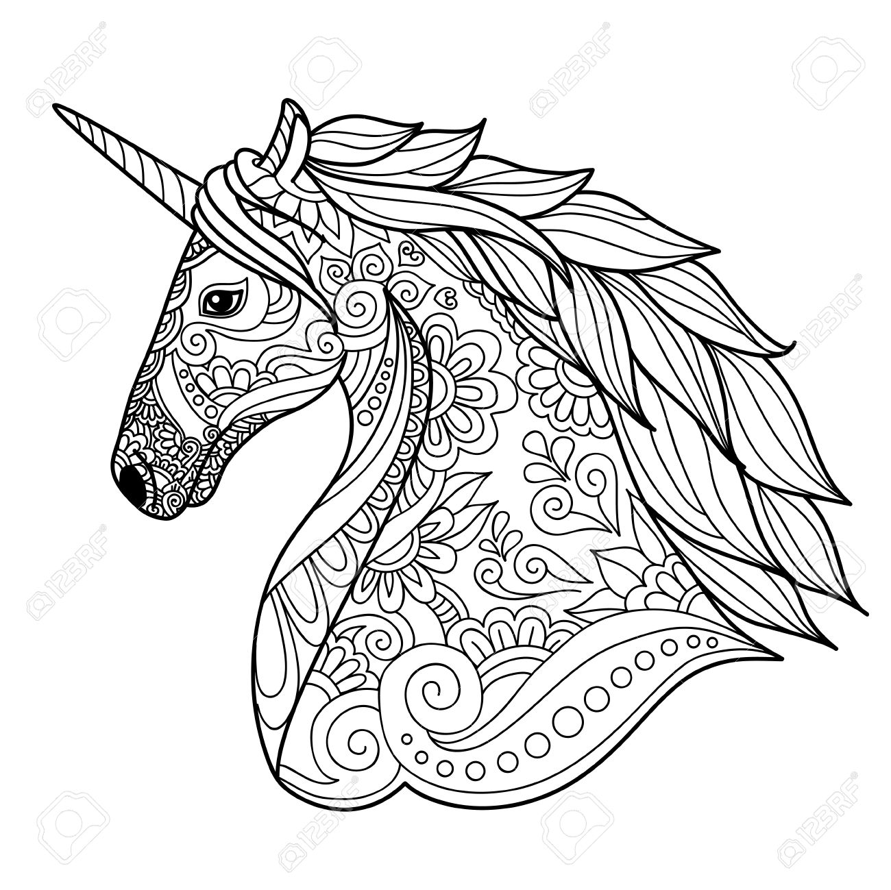 Drawing Unicorn Zentangle Style For Coloring Book Tattoo Shirt Design Logo Sign