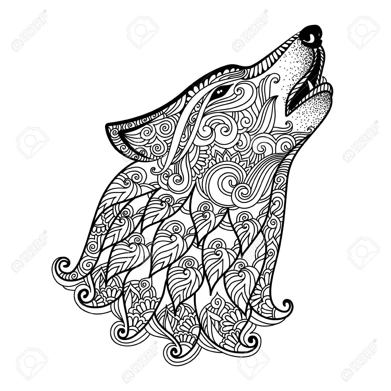 Hand drawn wolf side view with ethnic floral doodle pattern