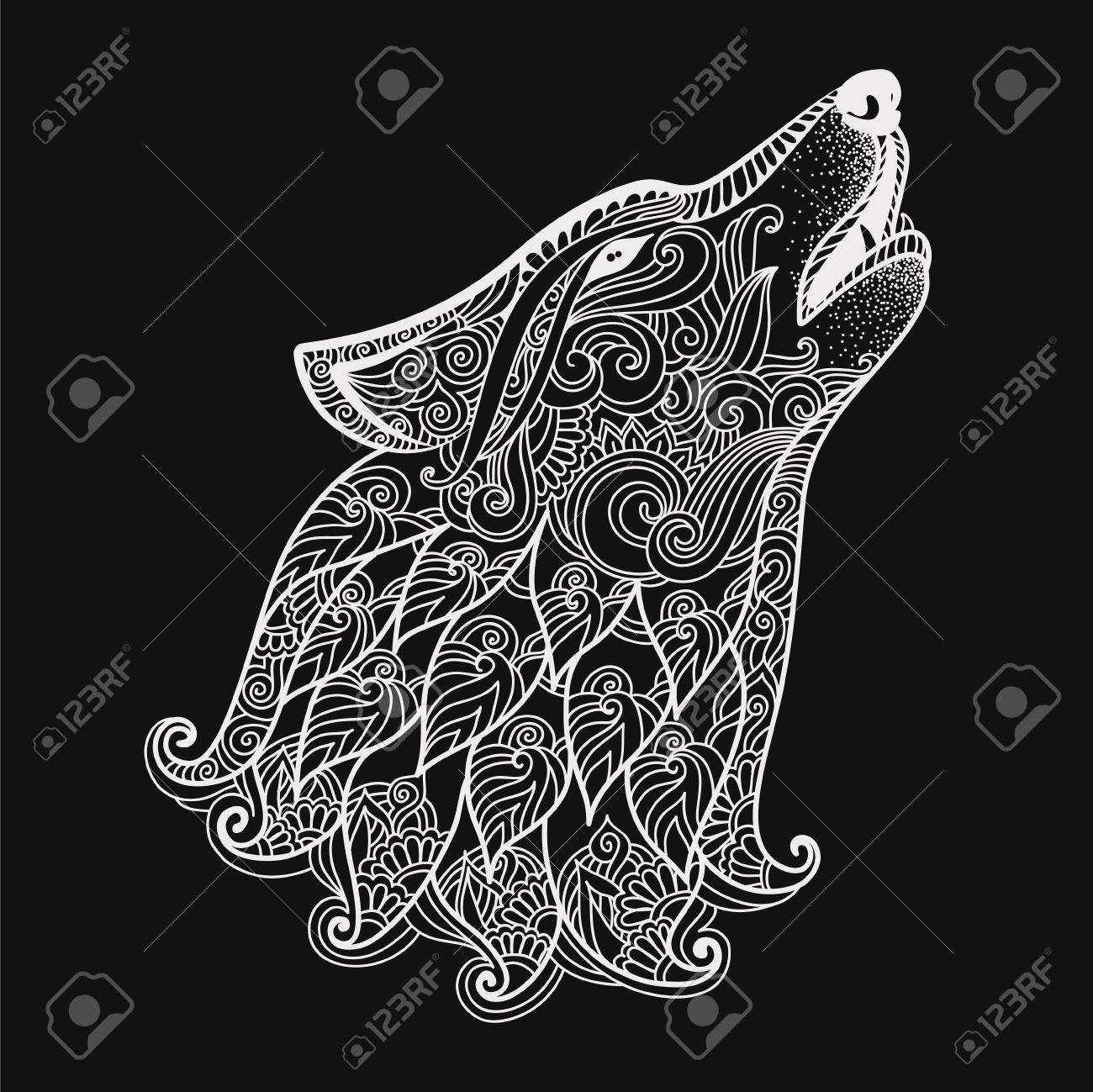 Hand drawn wolf side view with ethnic floral doodle pattern zentangle