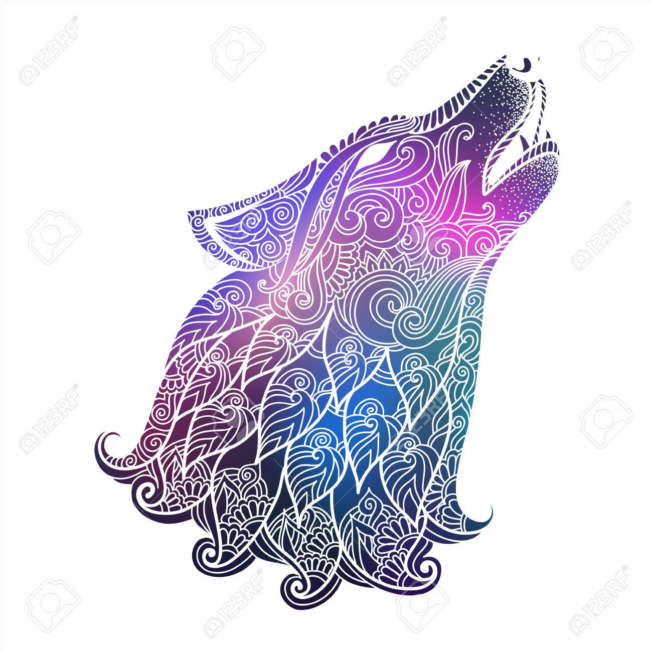 hand drawn wolf side view with ethnic floral doodle pattern zentangle style on galaxy background with