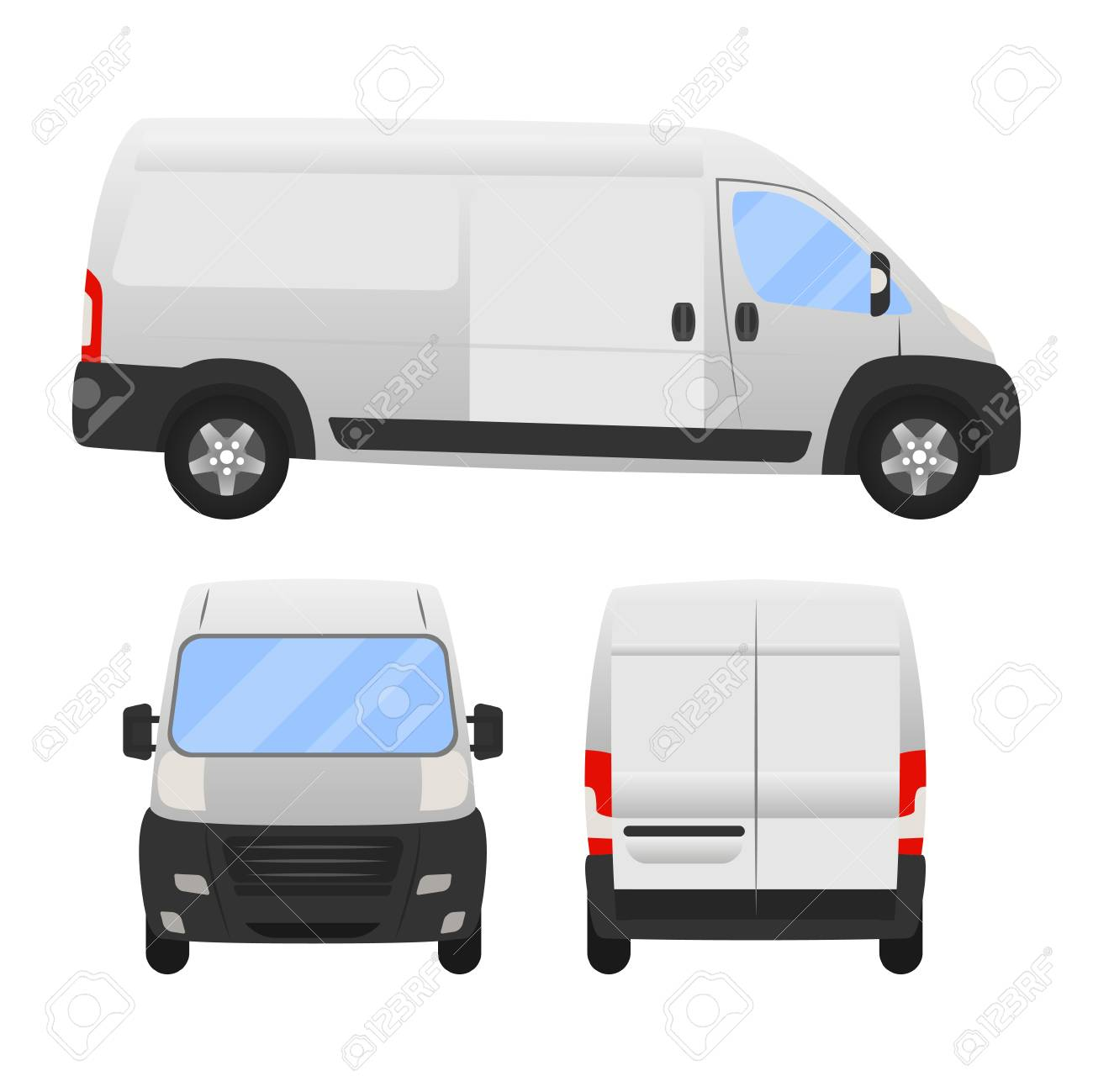 Delivery Van Layout For Presentation Vector Templateolated