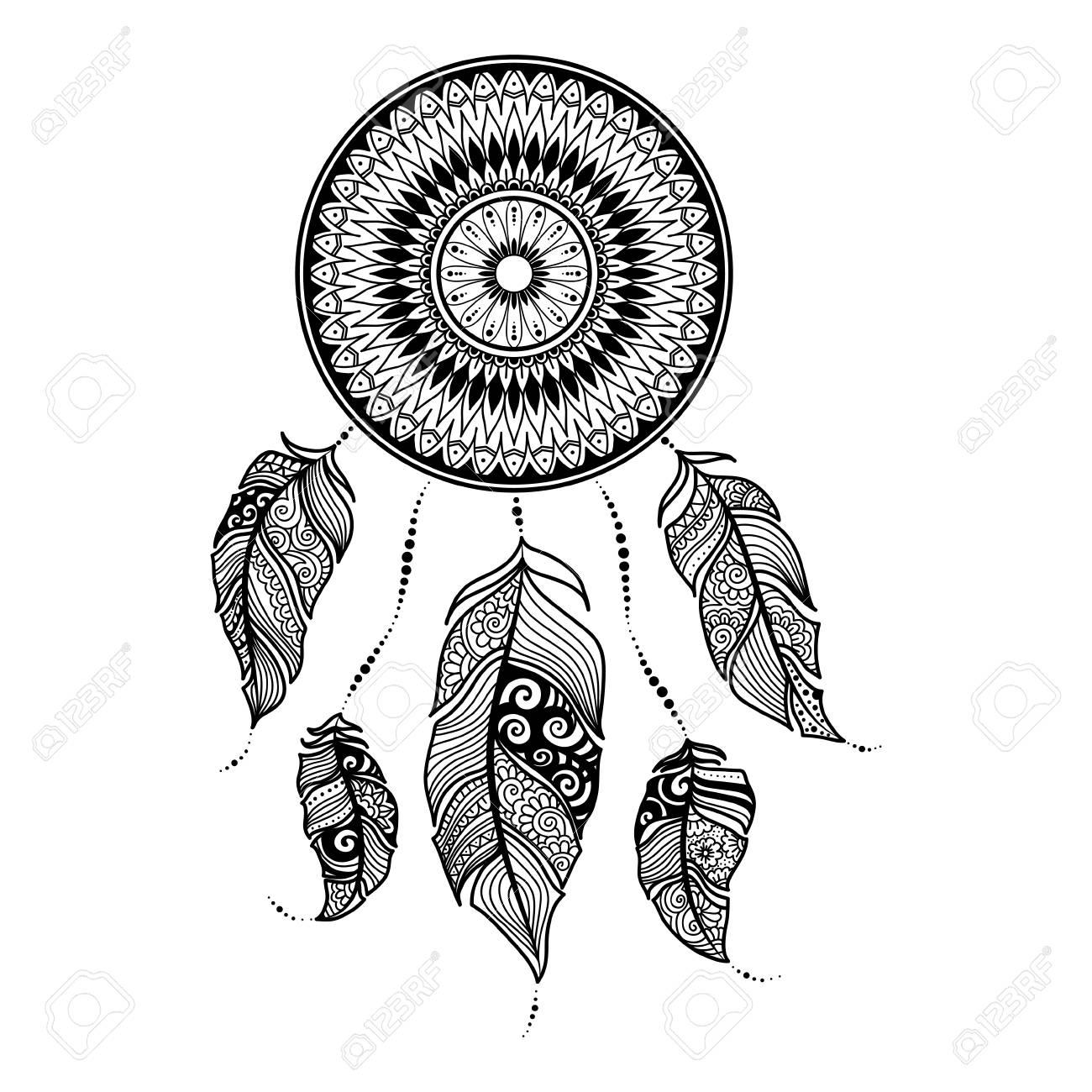 Ilustración Vectorial Atrapasueños Con Plumas étnicas Pintado A