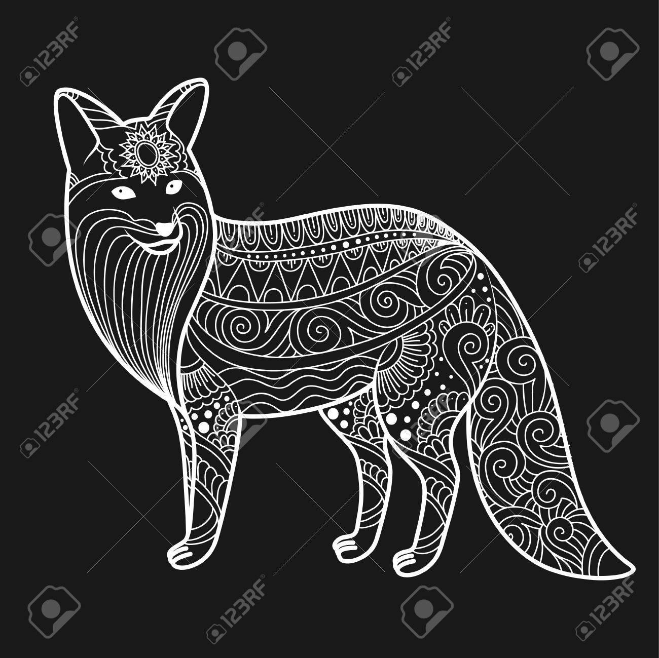 stylized fox in doodles  Pattern style zentangle  Vector sketch