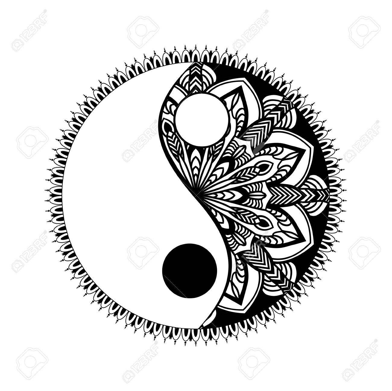 Monocromo Yin Yang Símbolo Decorativo Dibujado A Mano Elemento De