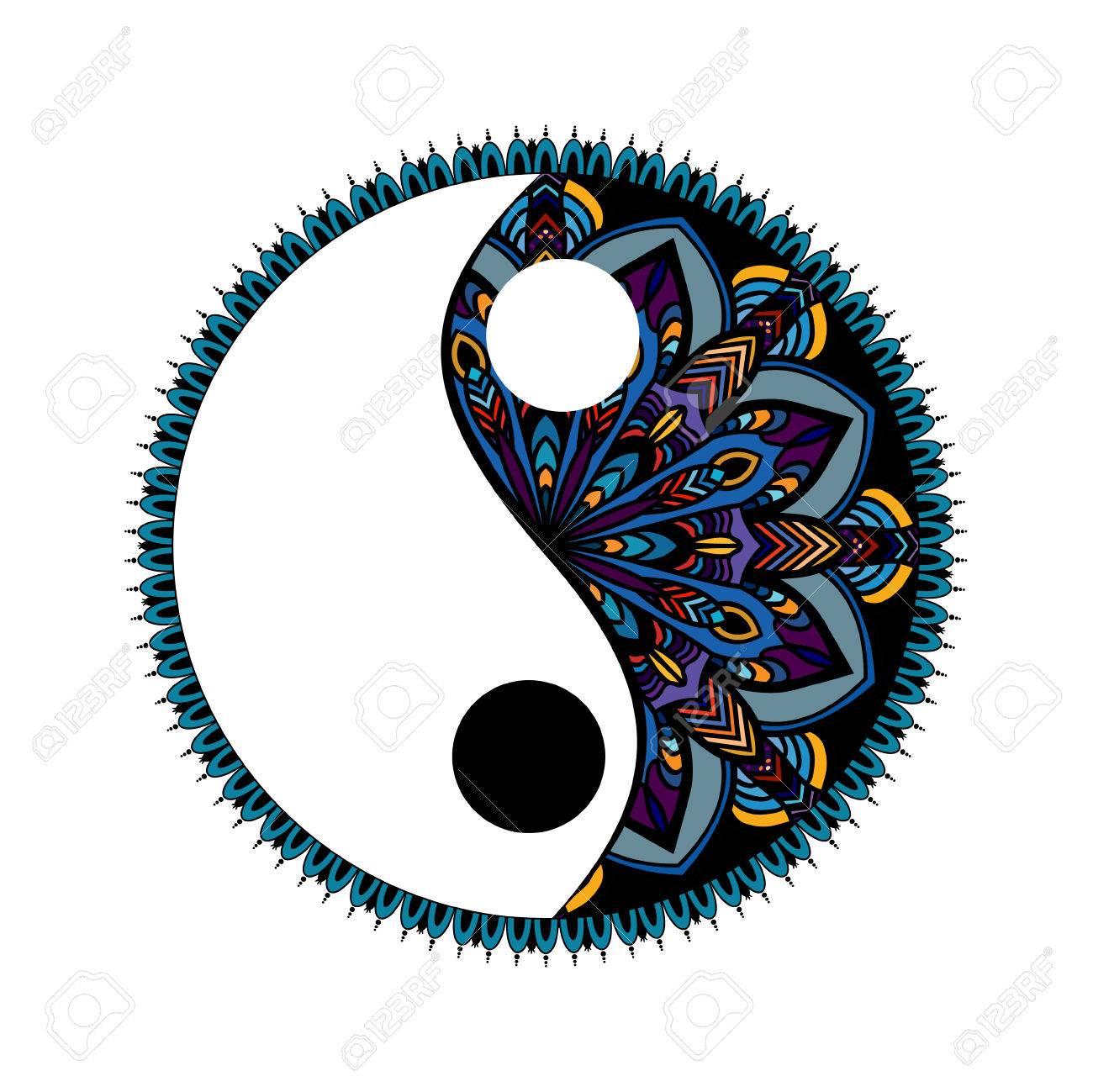 multicolored Yin yang decorative symbol. Hand drawn vintage style design element. mandala ornament doodles in zen tangle style - 76868573