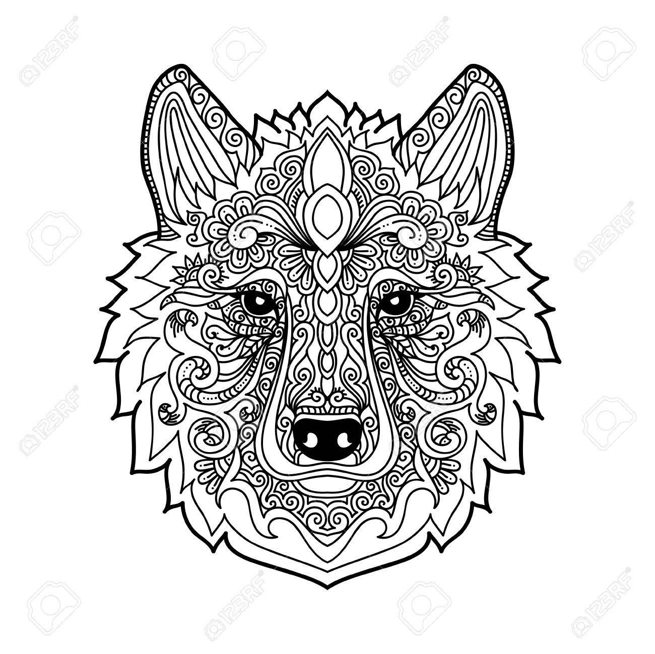 Loup Dessiné Main Avec Motif Floral Ethnique Doodle Coloriage