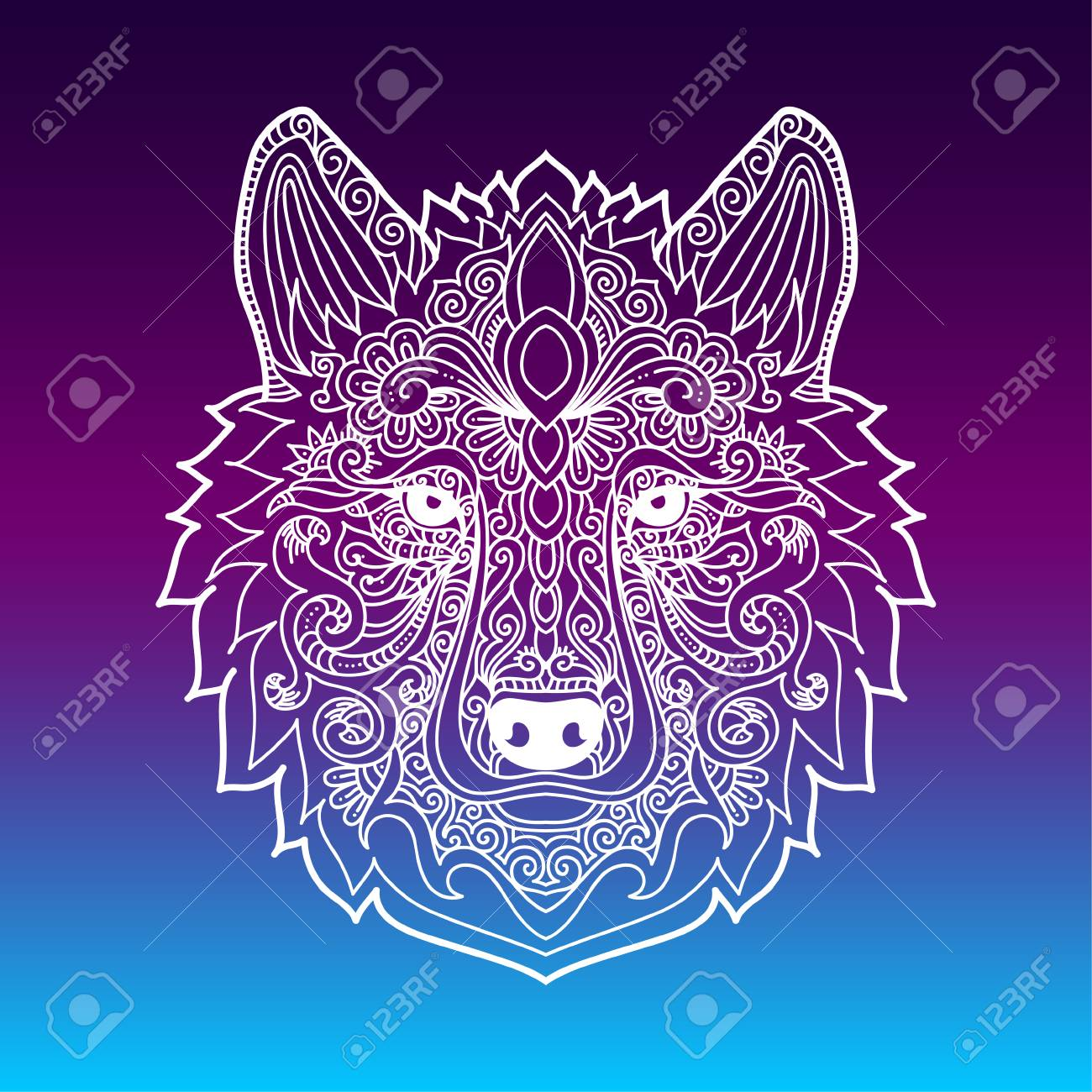 Hand drawn wolf with ethnic floral doodle pattern zentangle style