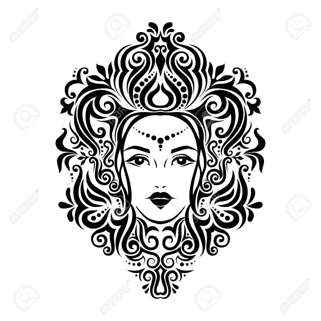 Ilustración Del Tatuaje Tribal De La Cara Y El Cabello De La Niña ...