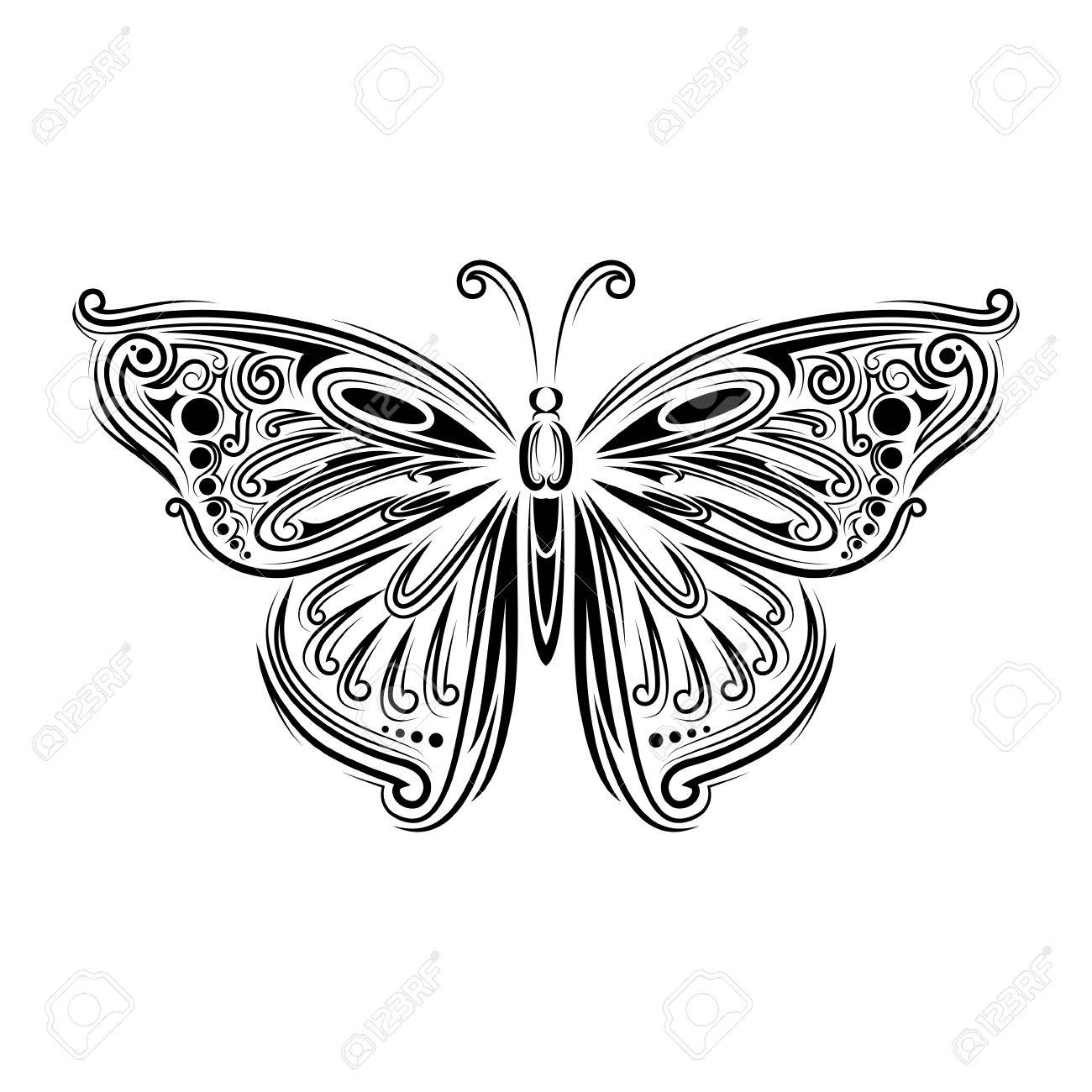 Stylized Fly Butterfly. Creative Bohemia Concept For Wedding ...