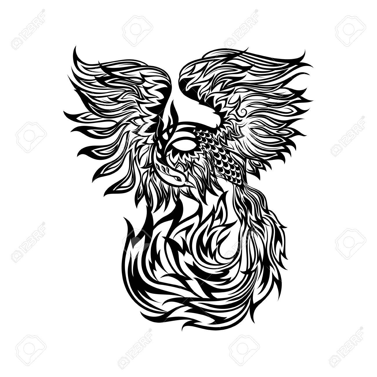 875dcd073 Tattoo with flaming phoenix in doodle tribal style. hand drawn stylized  illustration. Stock Vector