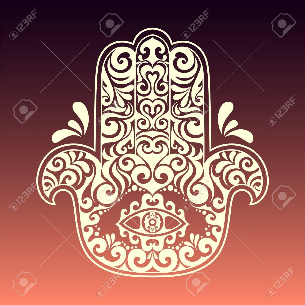 Vector Hamsa Hand Drawn Symbol With Tribal Ethnic Floral Monochrome