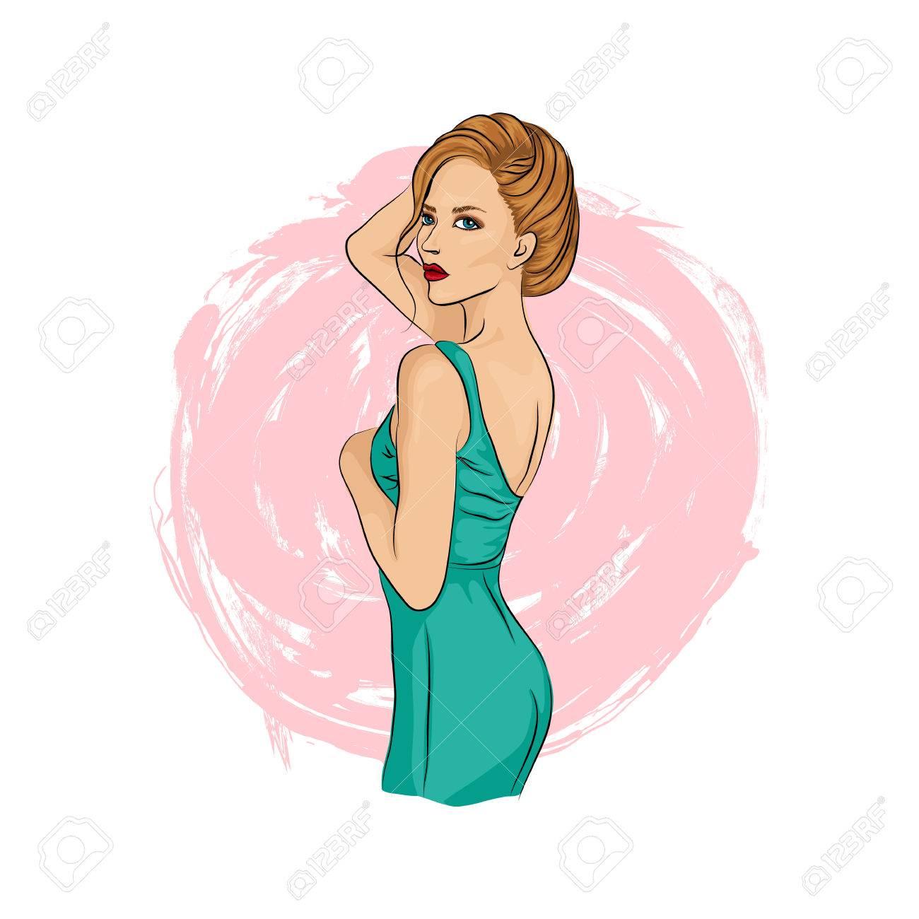 髪とファッションの女の子。ドレスで美しい若いおしゃれな女性。パステル カラー。手描きの背景イラスト
